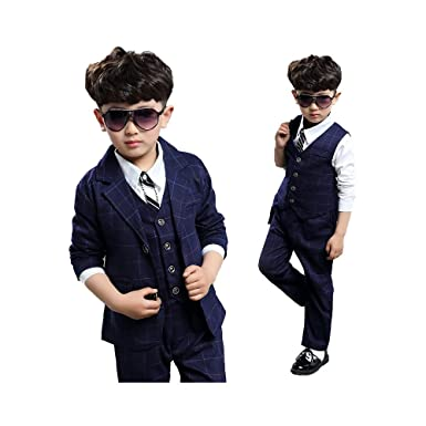 e384c8b841b16 ボーイズ フォーマル 子供服 男の子 スーツ チャック柄 3点セット ジャケット ベスト ズボン 子供用