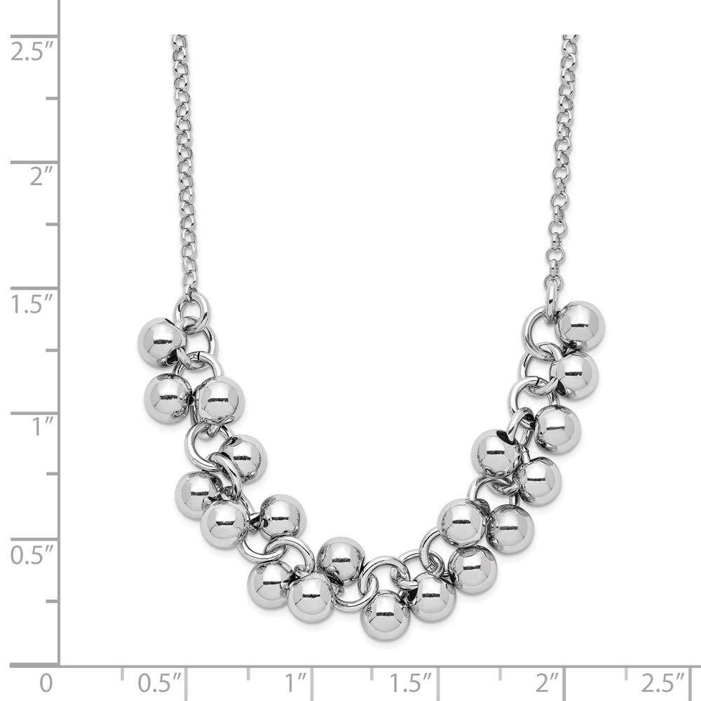 925 Sterling Silver Dangling Beads Chain Necklace Pendant Charm Bead Station Fine Jewelry Gifts For Women For Her