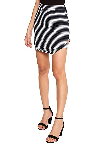 85a86ca06 Exchange Cafe Falda a rayas azul marino y blanco Falda para Mujer