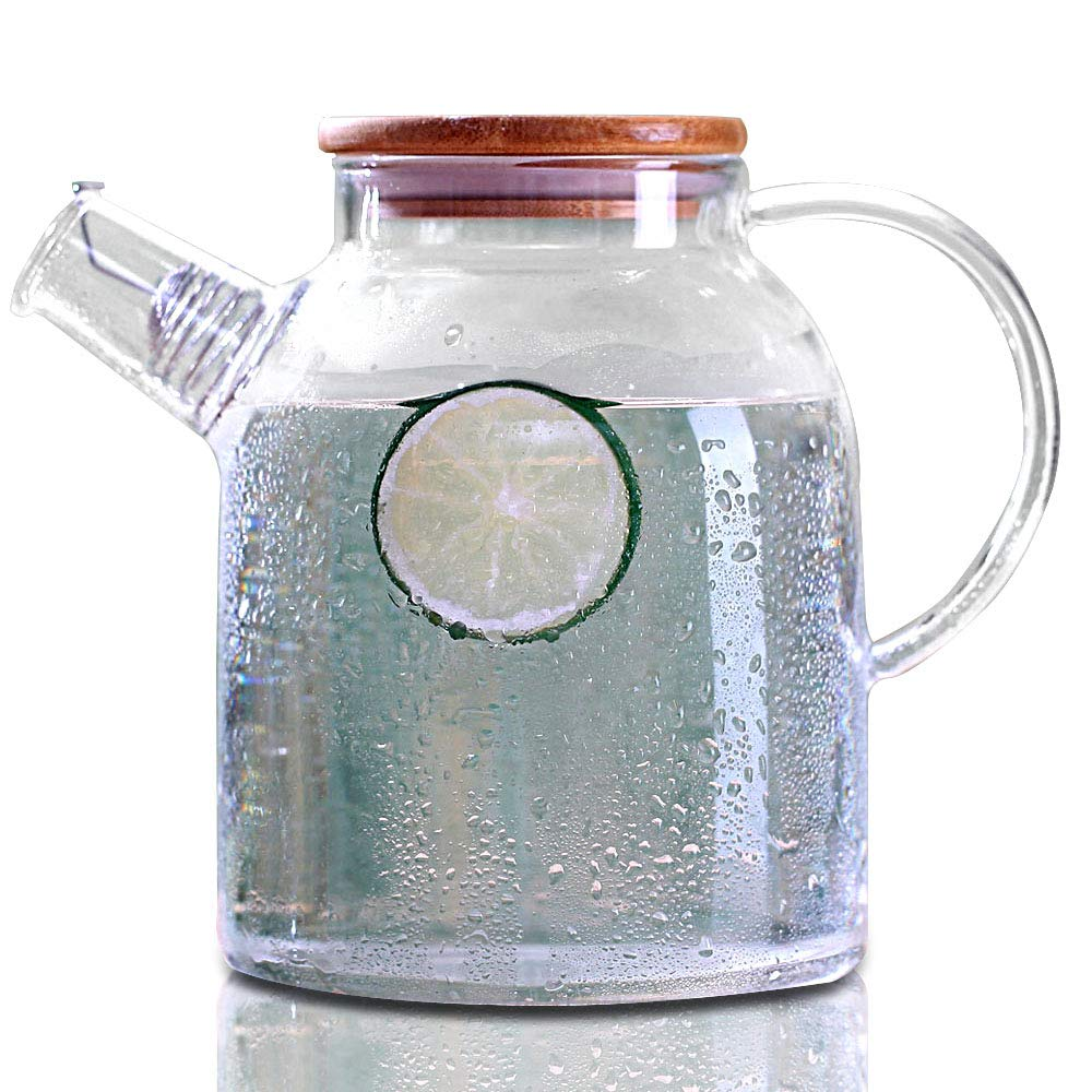 Cupwind Glass Pitcher with Wood Lid, Hot/Cold Water Carafe, Juice and Tea Beverage Jug 61 Ounces (1800ML-P)