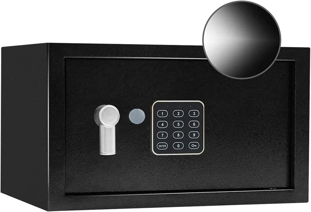 JUGREAT Security Safe Box with Sensor Light,0.7 Cubic Feet Electronic Digital Securit Safe Steel Construction Hidden with Lock,Wall or Cabinet Anchoring Design for Home Office Hotel Business
