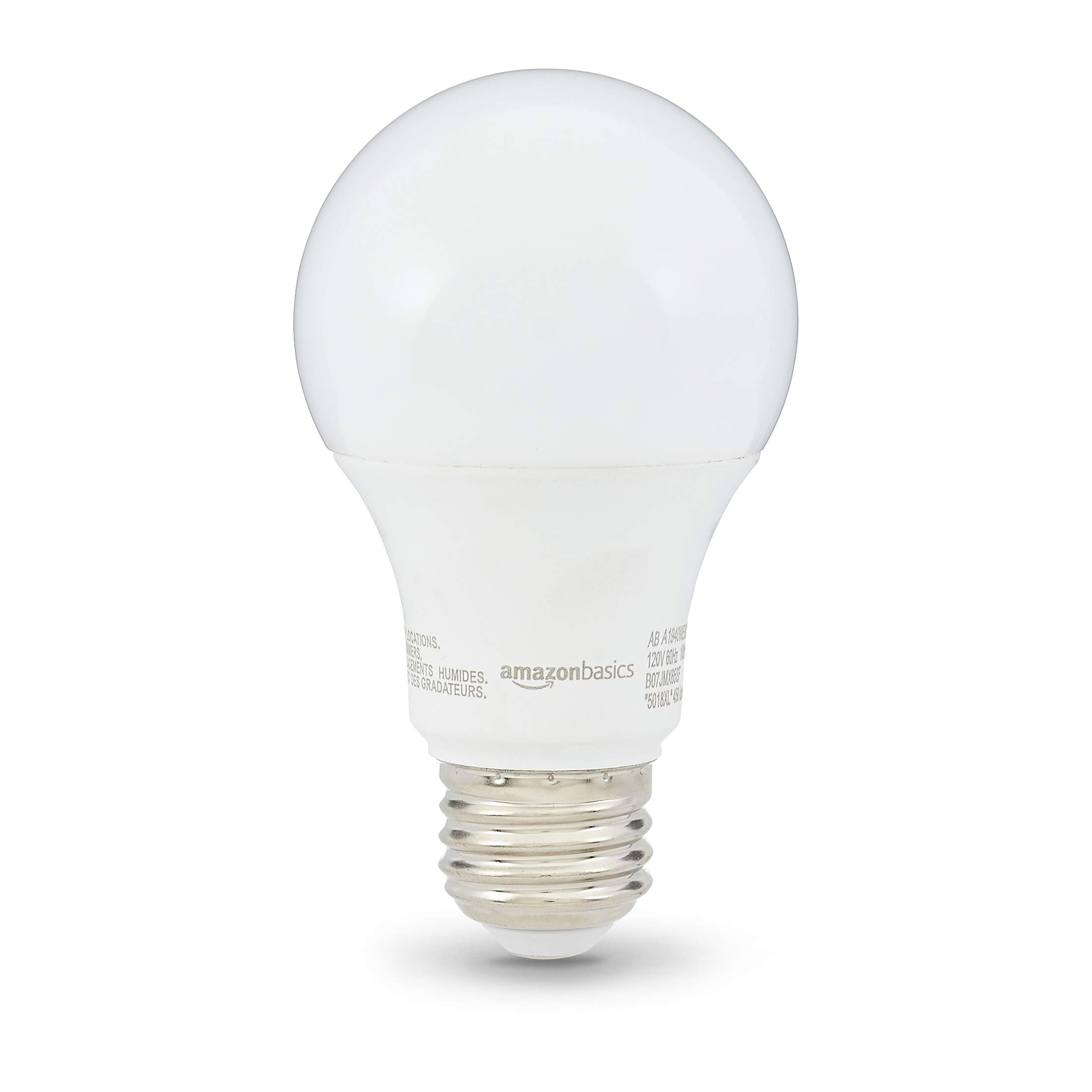 AmazonBasics 40W Equivalent, Soft White, Non-Dimmable, 10,000 Hour Lifetime, A19 LED Light Bulb | 6-Pack