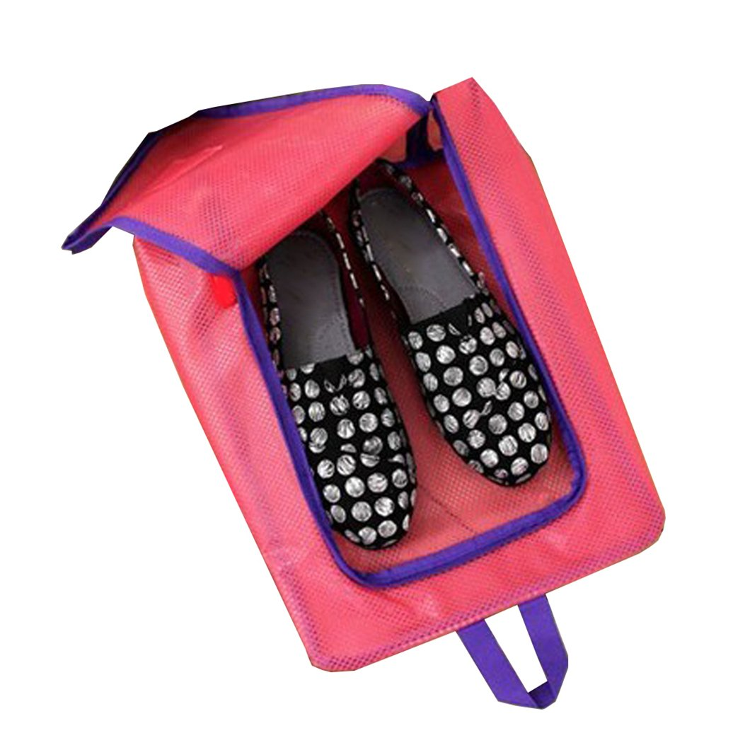 Rose Red Travel Shoes Storage Bag Waterproof Translucent Organizer Zip Closure Container Travel Tote Pouch