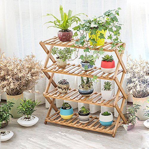 Free to install flower racks woody interior multi-layer folding flower rack balcony living room multi-flower pots shelf shoes racks rack,68cm,4 layer