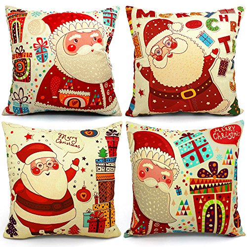 USTYLES 4 Packs Christmas Pillow Covers 18 X 18 Christmas Decorations Pillows Covers Christmas Decorative Throw Pillow Case Sofa Indoor Home Décor for Thanksgiving Day Party Supplies