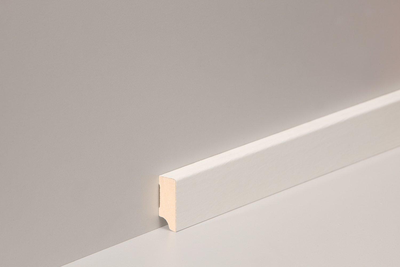 KGM Sockelleiste weiß 40mm | Modern 16x40mm ✓Clip Leiste für unsichtbare Befestigung ✓Folie weiss ✓Laminat & Parkett | mdf Trägermaterial | gerade Fußleiste 40mm Länge 2.5m