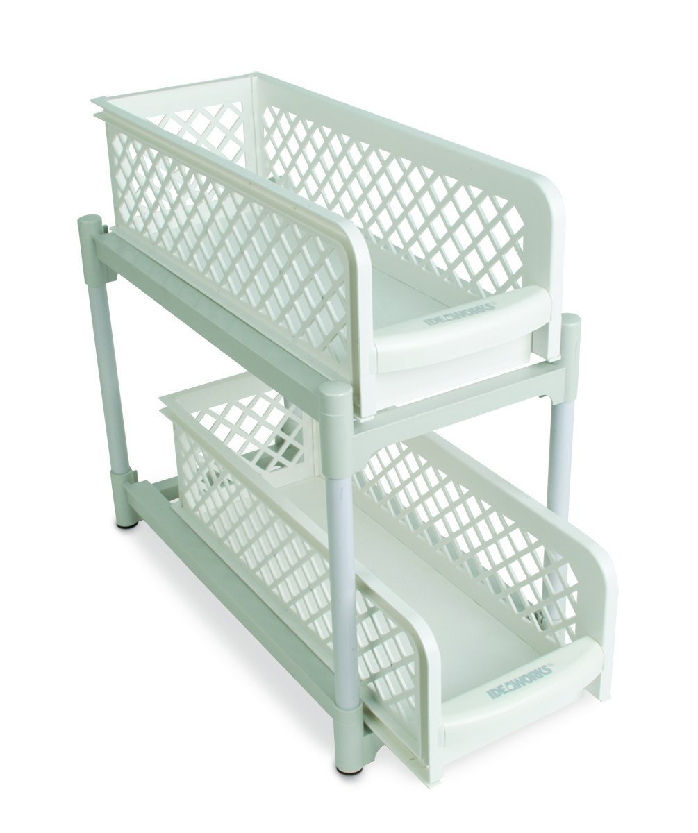 15'' Versatile 2 Tier Portable Sliding Basket Drawers White
