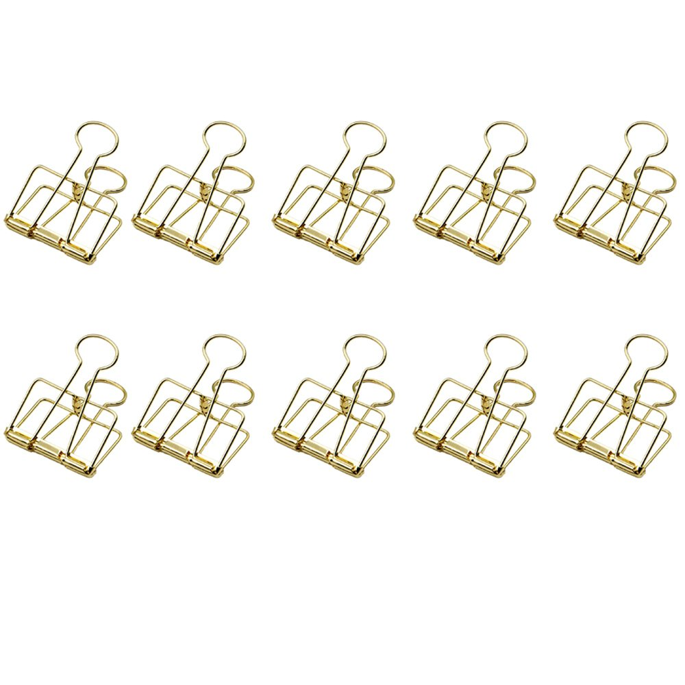 GardenHelper 10Pcs Retro Metal Hollow Out Binder Clip Invoice Bill Clip Decorative Paper Clips for Office Home School Use (Golden, Large)