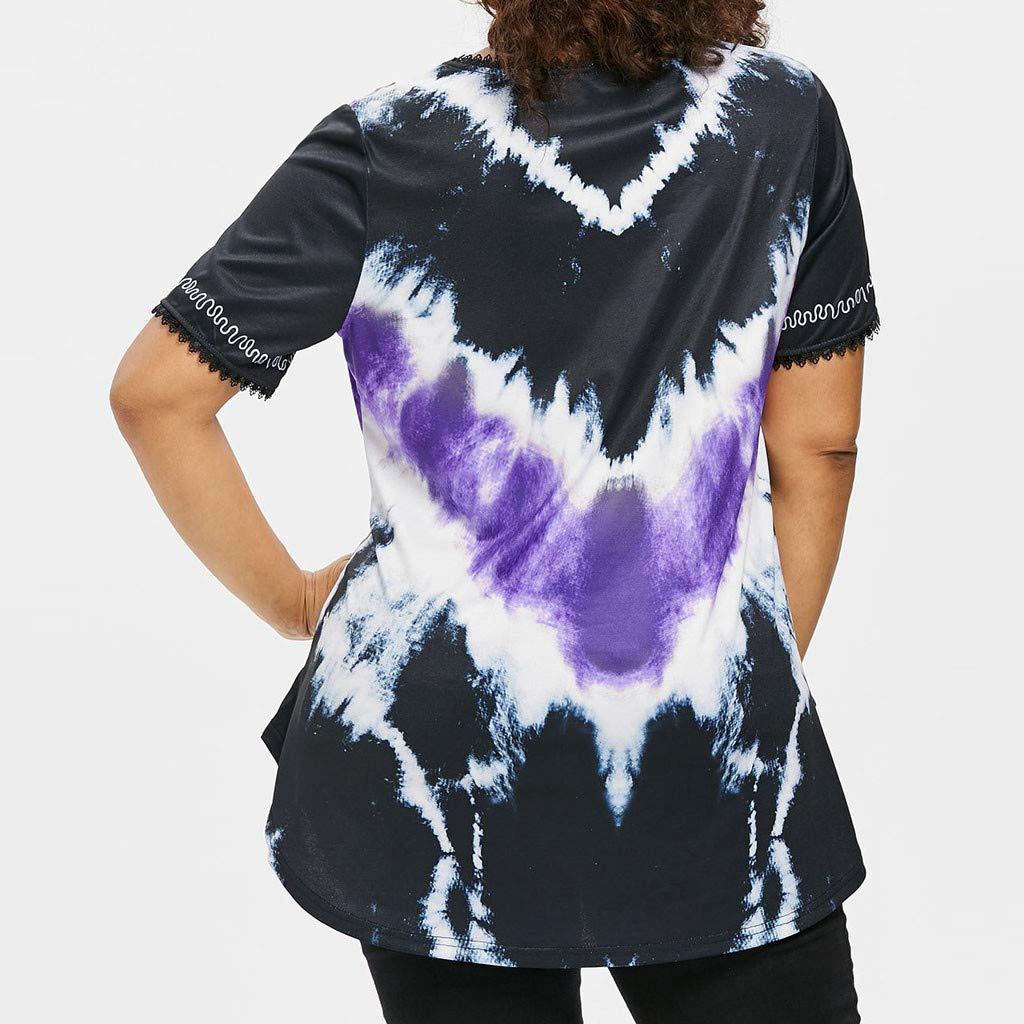 Holzkary Womens Fashion Short Sleeve V Neck Tie Dye Plus Size Lace Tunic Tops Casual Tee Shirt