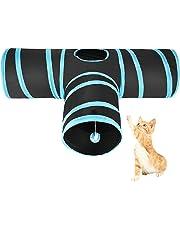 ASIV Katzenspielzeug, 3-Wege Katzentunnel Faltbare Spieltunnel mit Wackelig Ball für Katze, Puppy, Kitten und Kaninchen