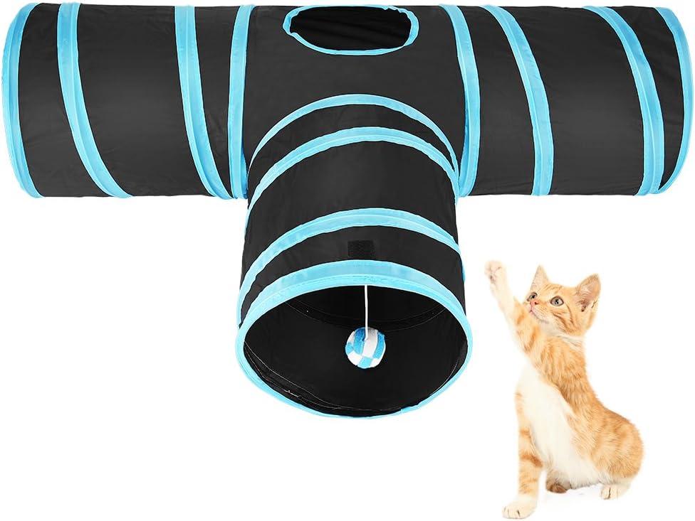 ASIV Túnel Gato PET Plegable Divertido Juego Juguete Tubo de 3 Vías para Conejos Gatitos Perros