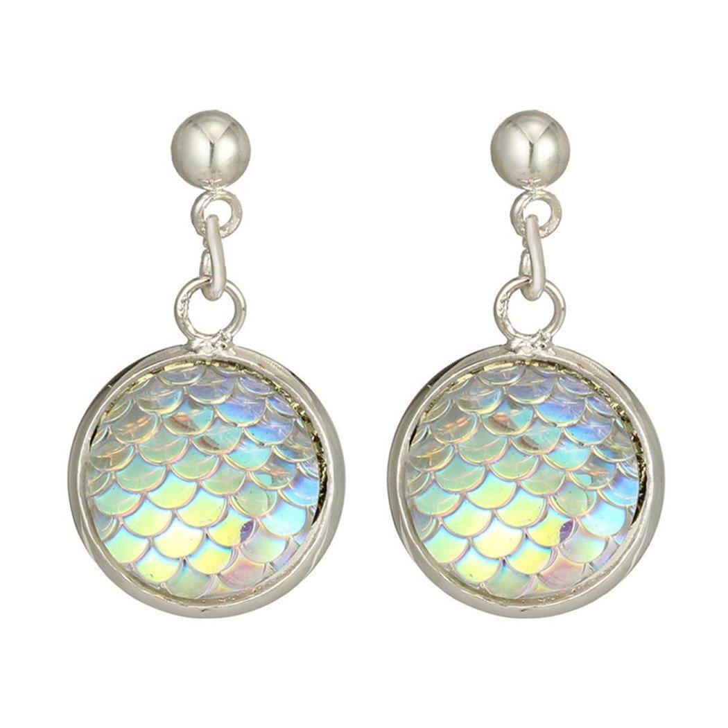 Clearance Lethez Round Fish Scale Dangle Earrings Popular Alloy Pendants Long Drop Earrings (Multicolor)