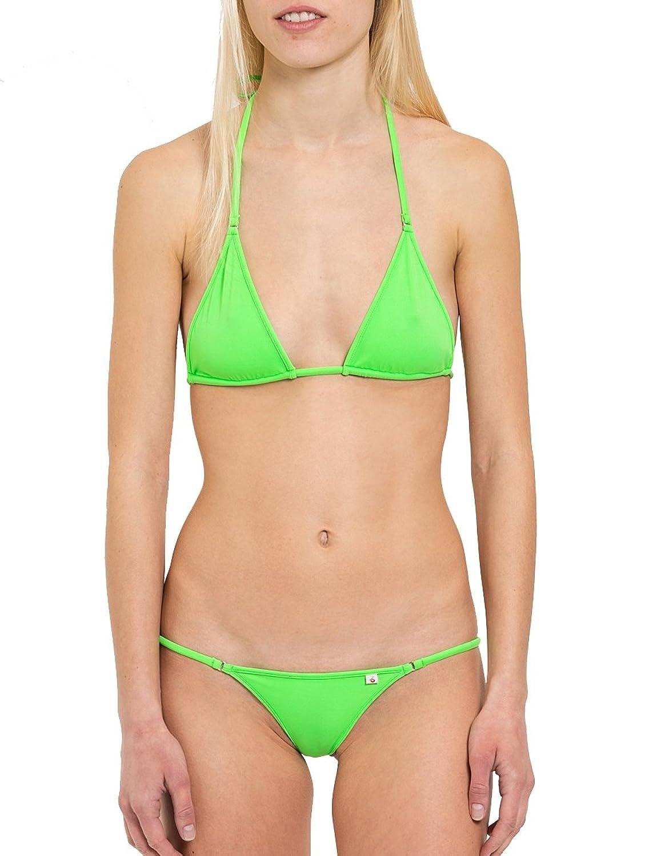SKINSIX freches Damen Bikini-Set 3-tlg in Grün, bwo180 Top Neckholder, bwu110 G-String und bwu170 Tanga