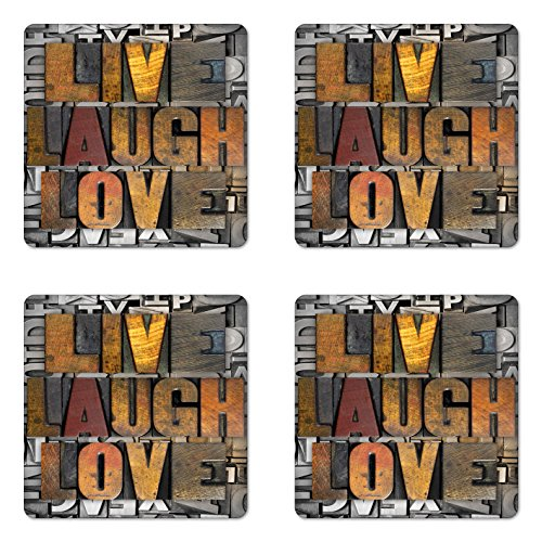Ambesonne Live Laugh Love Coaster Set of 4, Saying Promoting the Values of Human Life in Colorful a Pattern, Square Hardboard Gloss Coasters for Drinks, Brown Grey