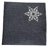 Xia Home Fashions Glisten Snowflake Embroidered Christmas Napkins, Grey