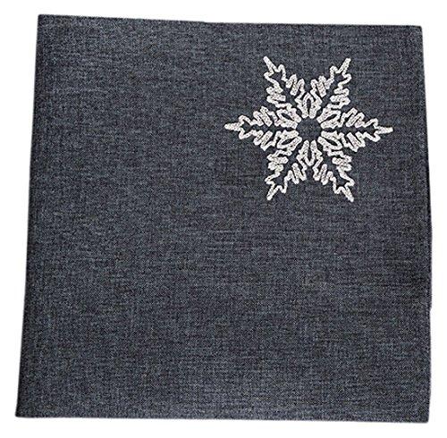 Xia Home Fashions Glisten Snowflake Embroidered Christmas Napkins, Grey by Xia Home Fashions