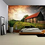 wall26 - Old Wooden Bar with Red Roof over the Dramatic Sunset. Zalew Zegrzynski, Poland - Removable Wall Mural | Self-adhesive Large Wallpaper - 66x96 inches