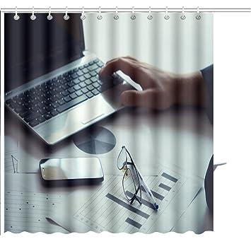 Muatoo Duschvorhang Moderne Business Mit Tablet Laptop Und Einige