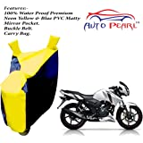 Auto Pearl - 100% Water Proof PVC Matty Neon Yellow & Blue Bike Body Cover with Mirror Pockets,Buckle Belt,Carry Bag - TVS Apache RTR 160