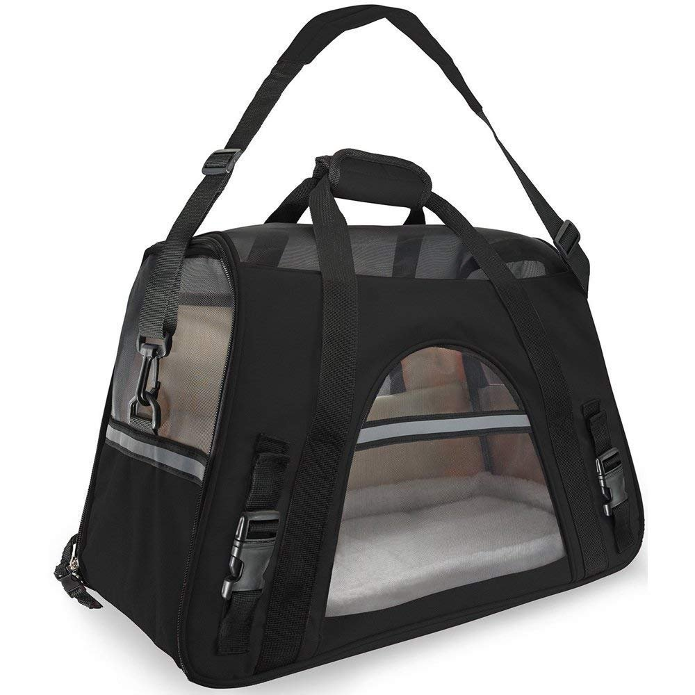 WMHourse Airline Approved Pet Carrier,Waterproof Pet Travel Carrier with Fleece Bedding Soft Sided Portable Tote for Cats and Small Dogs(Black,18.1'' L x 9.84'' W x 11.8'' H)