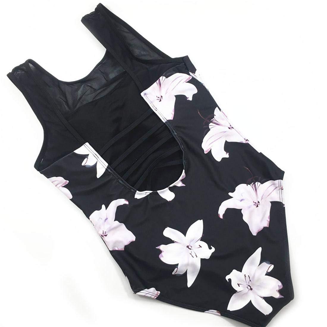 Swimsuit Lxn Womens Bathing Suit One Piece Bikini Gauze Printed Strappy Swimwear Beach Pool