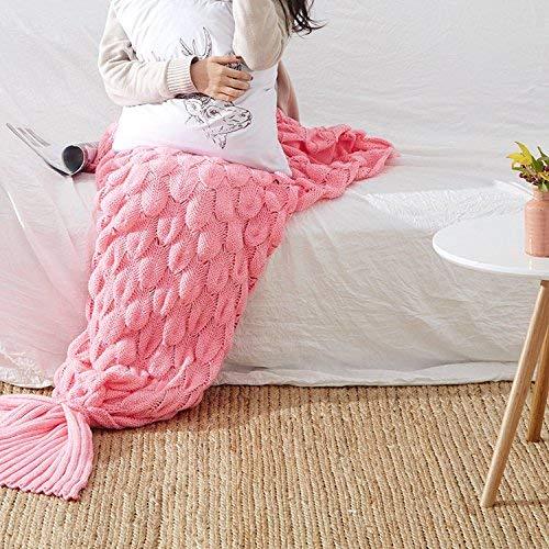 Yunyilian マーメイドテールソファマーメイドエアコンニットナップ (Color : ピンク, サイズ : 195*90cm) B07RFLZYR7 ピンク 195*90cm