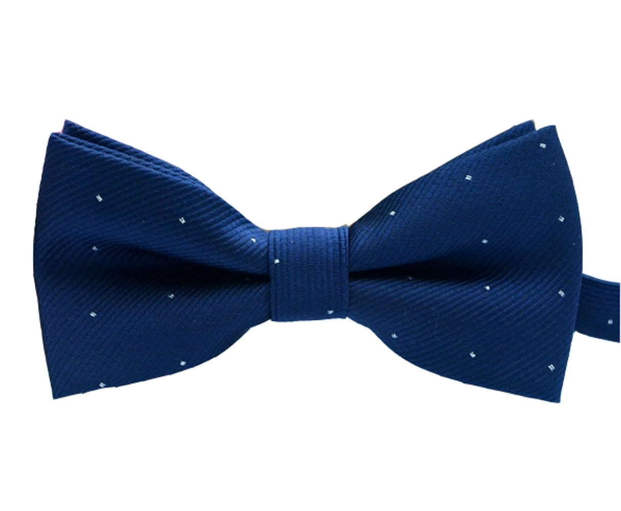 Boys Adjustable Pre-Tied Bow Tie With Beautiful Spot Pattern For Boys Kids (navy blue)