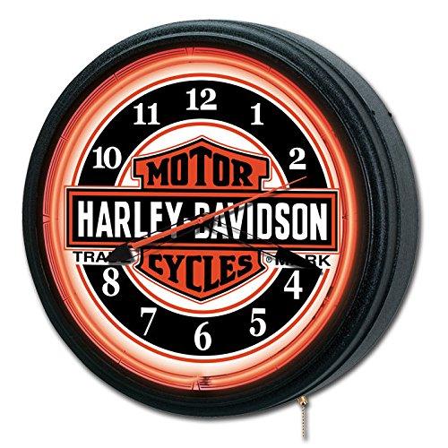 Harley Davidson Neon Clock - Nostalgic Trademark Bar & Shield