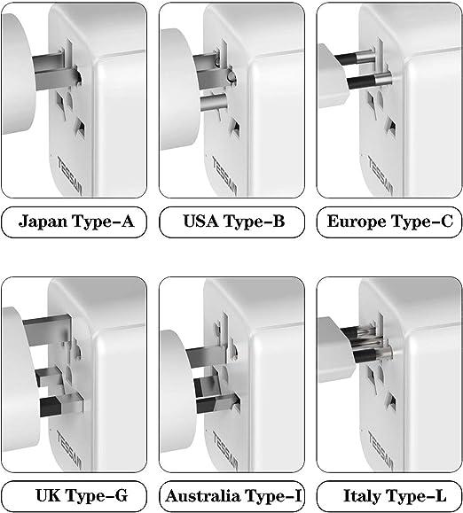 fusible de repuesto Theraline 2 USB 3.0 Adaptador de viaje EU//US // UK//AUS Se utiliza en m/ás de 150 pa/íses con dos fusibil cargador 176White