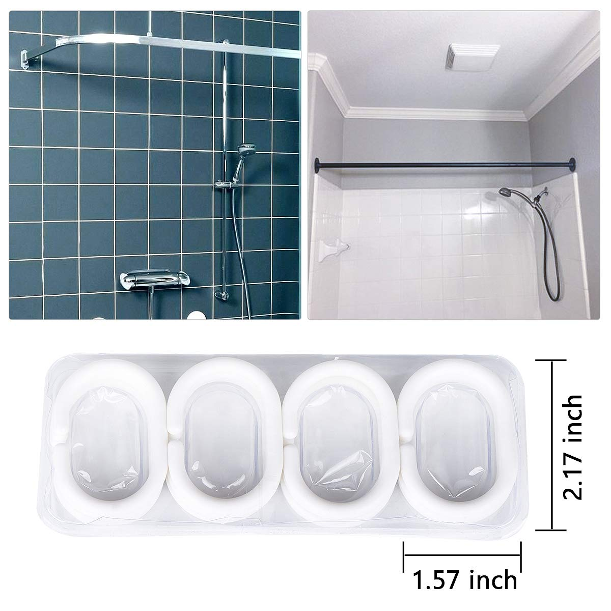 JRing Shower Curtain Polyester Fabric Waterproof Machine Washable with 12 Hooks 72x72 Inch by JRing (Image #3)