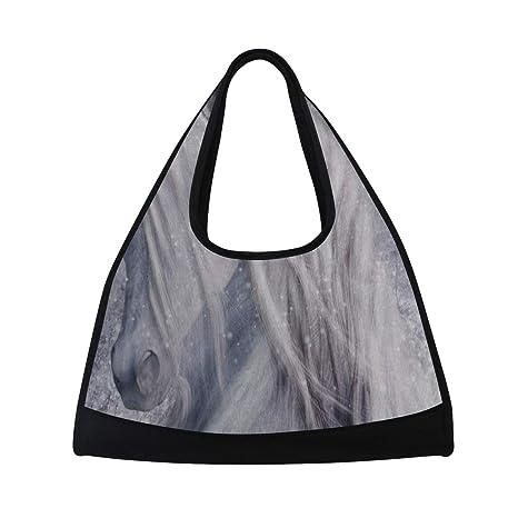 HUVATT Gym Bag Magical Unicorn Snowy Winter Women Yoga Canvas Duffel Bag  Tennis Racket Tote Bags adf2c0387