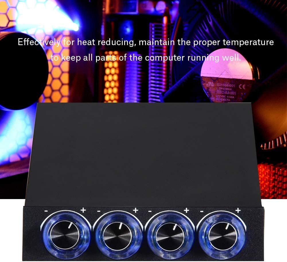 Jacksking Fan Controller 4 Channel Computer Fan Speed /& Temperature Controller Heat Reducing for PC with Blue LED