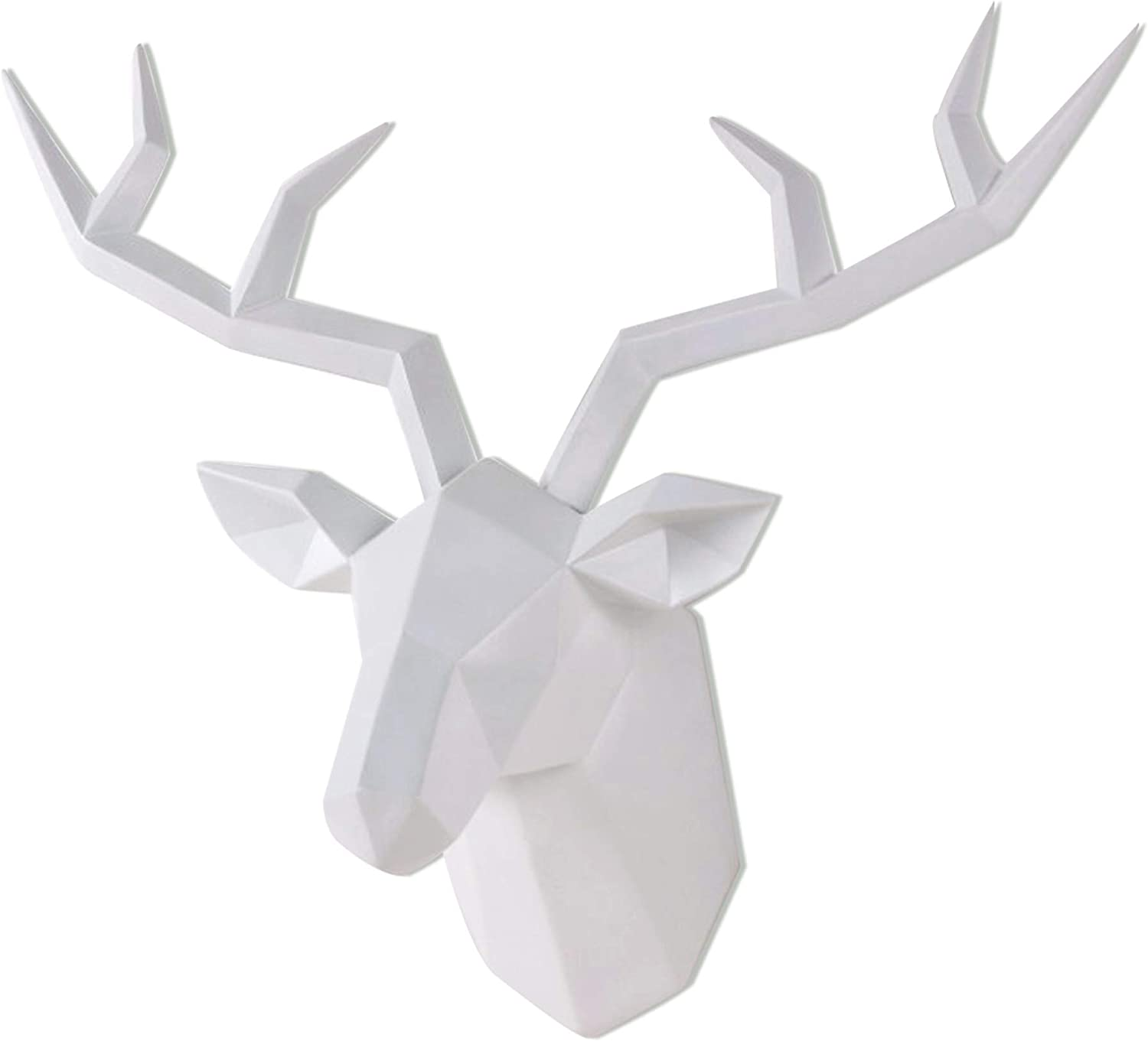 Deer Head Wall Decor Geometrical White Deer Antlers Wall Sculpture Faux Taxidermy Resin Wall Animal Head 14x5.5x11 Inches