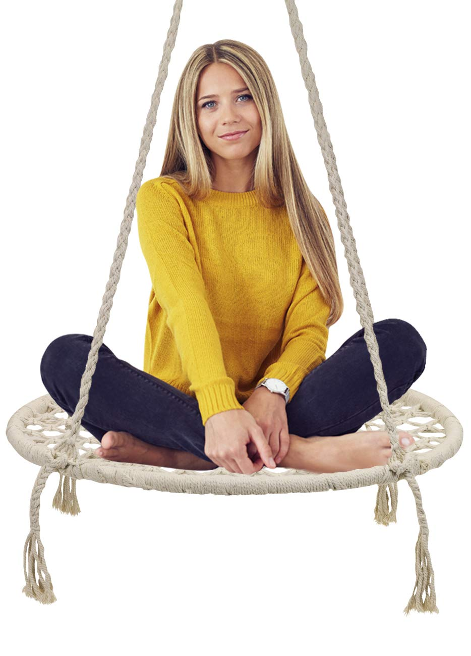 Sorbus Hammock Chair Macrame Swing, 265 Pound Capacity, Perfect for Indoor Outdoor Home, Patio, Deck, Yard, Garden Macrame Round Swing – Cream