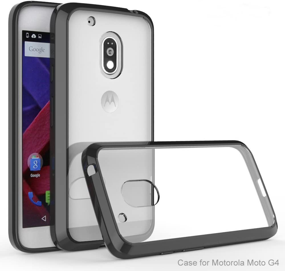 MOTO G4 / MOTO G4 Plus Funda, iBetter Silicona TPU +PC Funda Dura Ultra Fina Transparente Funda Cover Carcasa Para MOTO G 4th Generation / MOTO G 4th Generation Plus Smartphone, Negro: