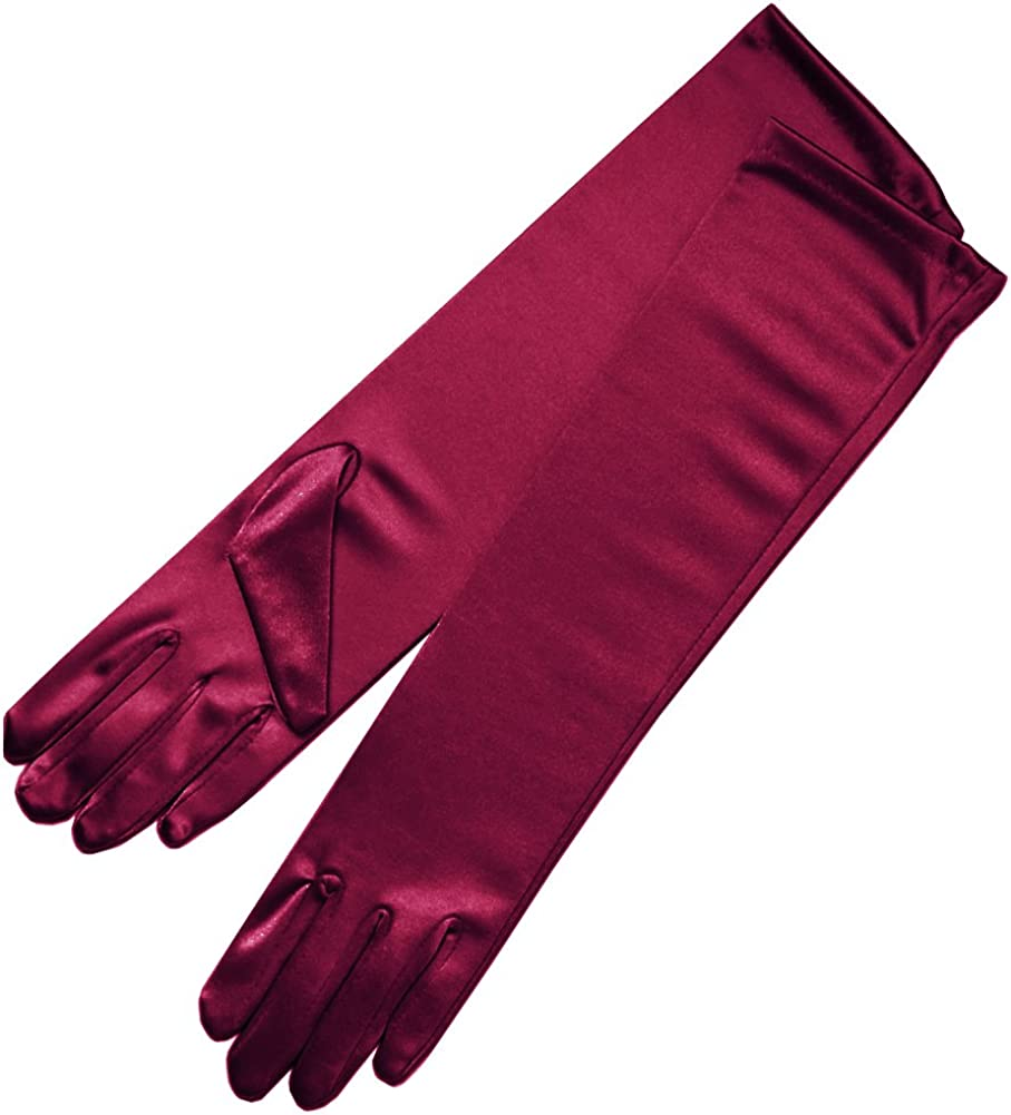 ZAZA BRIDAL 15.5 Long Shiny Stretch Satin Dress Gloves Below-The-Elbow Length 8BL