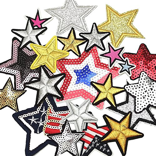 Dandan DIY 20pcs Random Assorted Stars Kid Embroidered Patch Sew On/Iron On Patch Applique Clothes Dress Plant Hat Jeans Sewing Flowers Applique Diy Accessory (Iron On Patches Appliques)