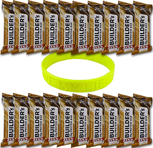 Clif Bar Builder's Protein Energy Bar, 20 Chocolate Peanut Butter, 2.4 Oz, + Livemylife Wristband