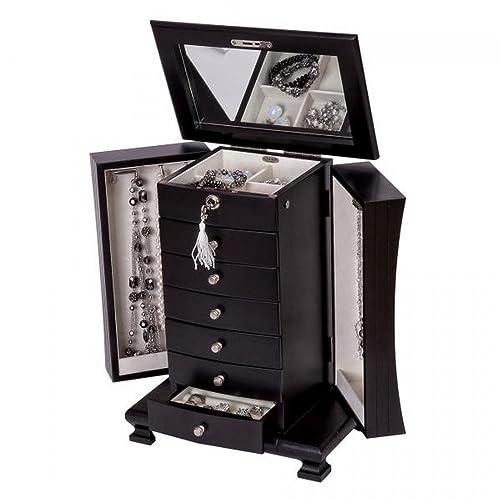 Amazon Com Java Finish Upright Wooden Jewelry Box Dresser Top