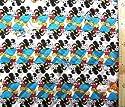 <Qキャラクター・キルティング生地>ミッキー&ミニーマウス×寺田順三(生成/ブルー)#2 ( 2018-2019)(キルティング キルト キャラクター キルティング生地 布 入園 入学 ピロル)の商品画像
