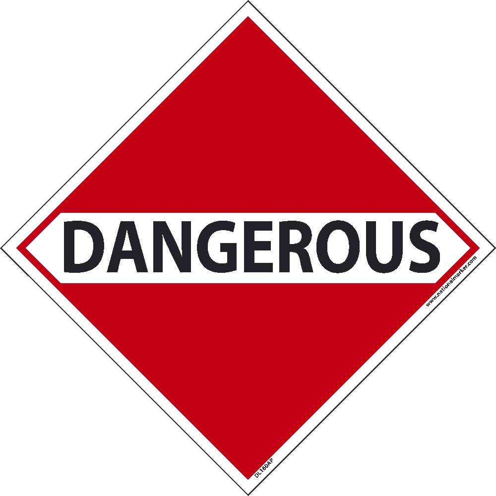 DL160ALV National Marker Dot Shipping Label, Dangerous, 4 Inches x 4 Inches, Ps Vinyl, 500/Roll