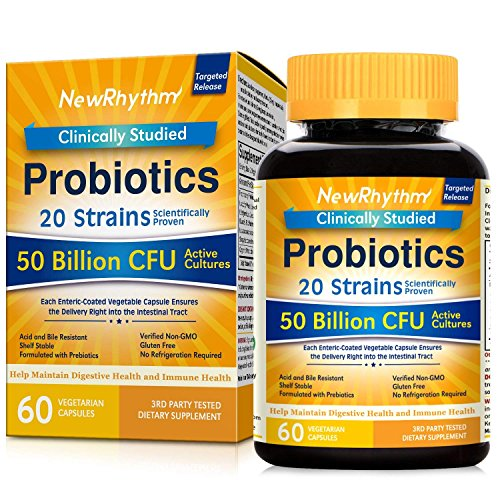NewRhythm Probiotics 50 Billion CFU 20 Strains, 60 Veggie Capsules, Targeted Release Technology, Stomach Acid Resistant, No Need for Refrigeration, Non-GMO, Gluten Free