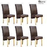 More4Homes Cambridge Lot de 6 chaises de salle à manger à haut dossier Pieds en bois finition chêne et revêtement en cuir Marron