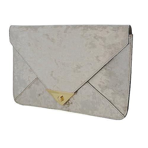 Essex Glam Womens Beige Velvet Evening Envelope Clutch Bag Handbag