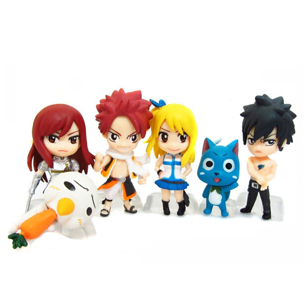 Botetrade Nette Fairy Tail 6pcs Mini Action-Figuren-Set mit Natsu Dragneel, Happy, Ezra Scarlet, Grau Fullbuster, Lucy Heartfilia und Pue Ltd