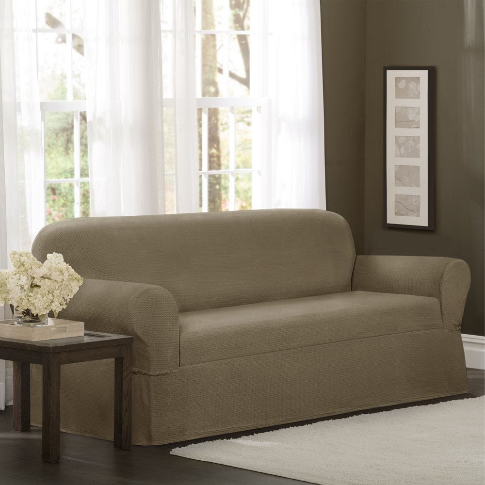 MAYTEX Torie Stretch 1Piece Sofa Furniture Cover/Slipcover, Tan
