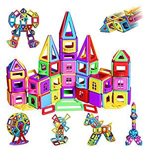 infinitoo 162Pcs Magnetic Building Blocks, Magnet Stacking Set 3D Building Blocks, Multicoloured Construction Kit,Early…