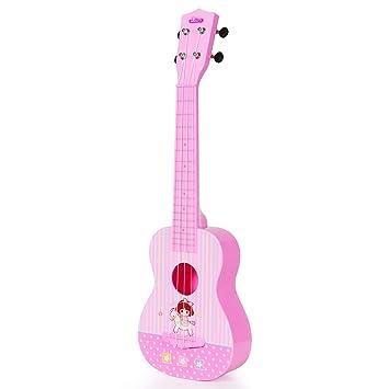 Guitarra Ukelele Musical Juguete para Niños, 23 Pulgadas 4 Cuerdas Guitarra Clásica Juguete Eléctrico del