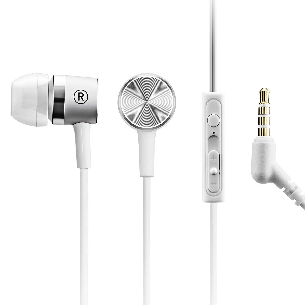 Mpow In-ear Auricolari per Ascoltare Musica in Esecuzione Viaggio, Qualità del Suono Impressionante, con Microfono In linea & Telecomando, Compatibile con con iPhone 6s plus/6s, iPhone 6/6 Plus, iPhone 5s/5c/5/4s, iPad, LG G2, Samsung Galaxy S6 Edge+/S6 Edge/S6/ S5/S4/S3, Sony, Huawei P8 / 9 Lite ed altri Smartphone - Bianco