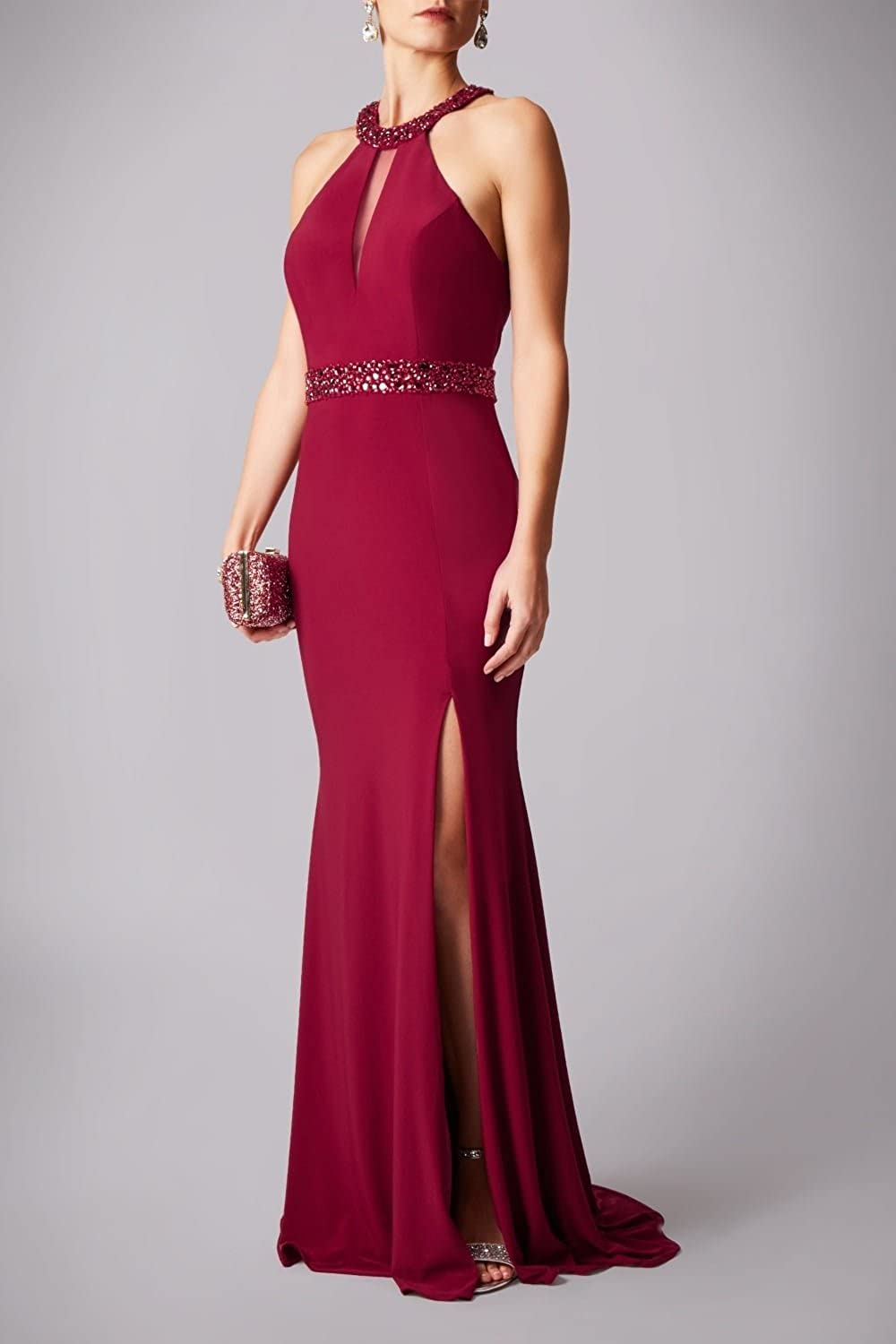 Mascara Red Drop Neck Gown with mesh Insert MC181203 Red